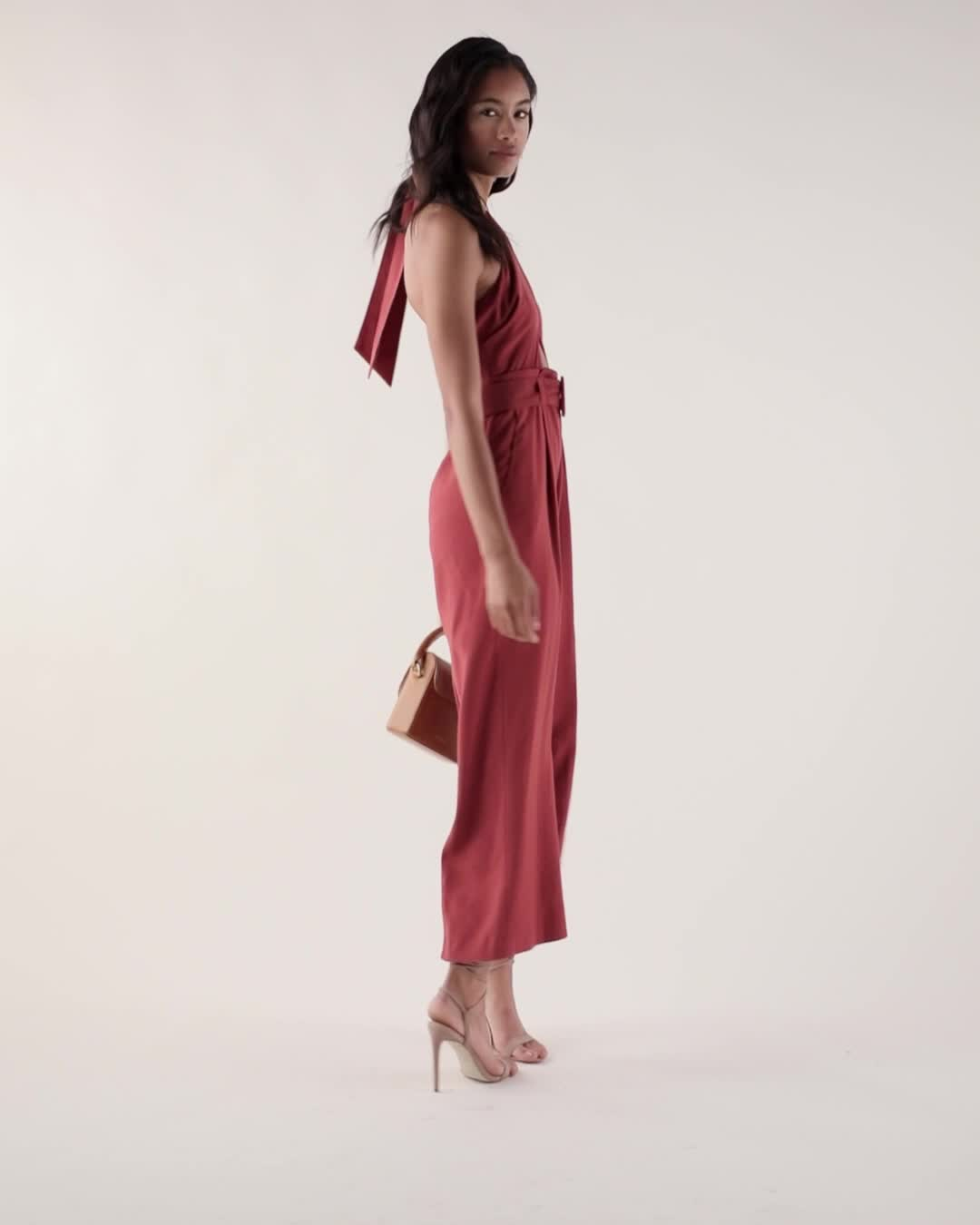 J.O.A. Belted Cut Out Halter Neck Jumpsuit product video
