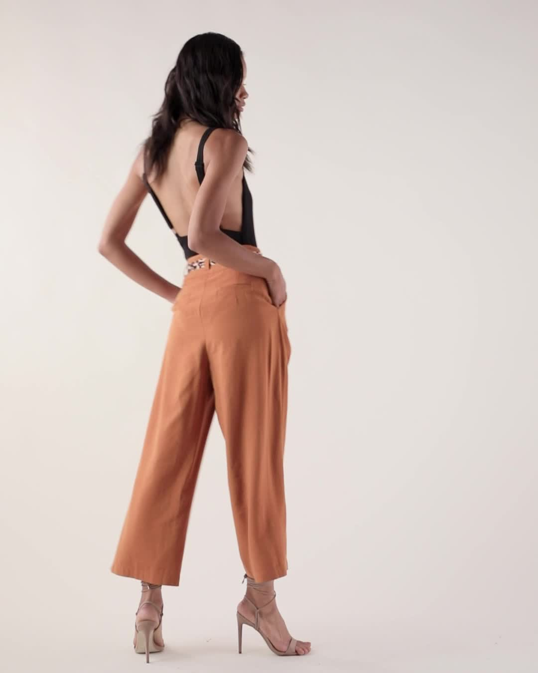 J.O.A. Wide Leg Pants with Contrast Belt product video